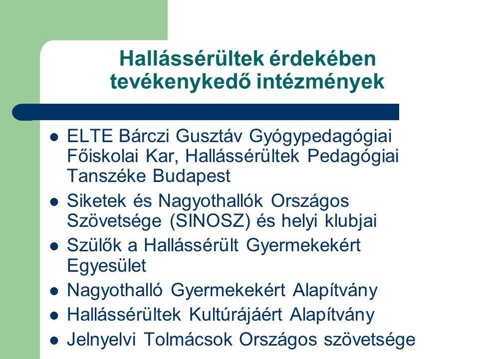 Hallássérültek érdekében tevékenykedő intézmények ELTE Bárczi Gusztáv Gyógypedagógiai Főiskolai Kar, Hallássérültek Pedagógiai Tanszéke Budapest Siket