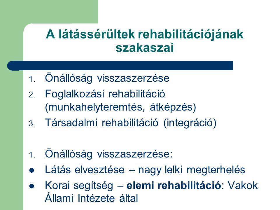 A látássérültek rehabilitációjának szakaszai 1. Önállóság visszaszerzése 2. Foglalkozási rehabilitáció (munkahelyteremtés, átképzés) 3. Társadalmi reh