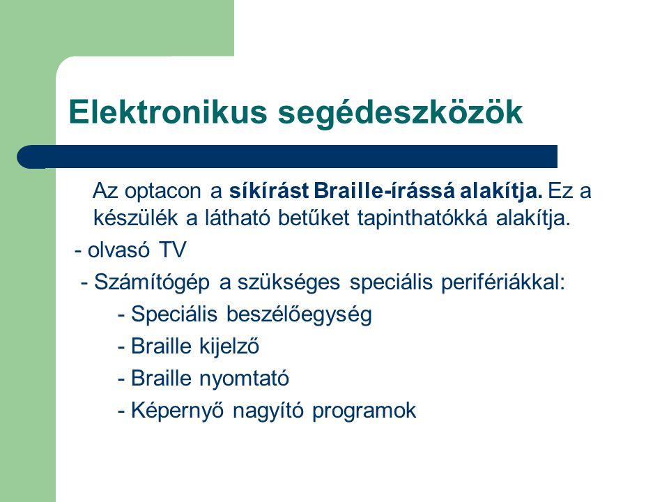 Elektronikus segédeszközök Az optacon a síkírást Braille-írássá alakítja.