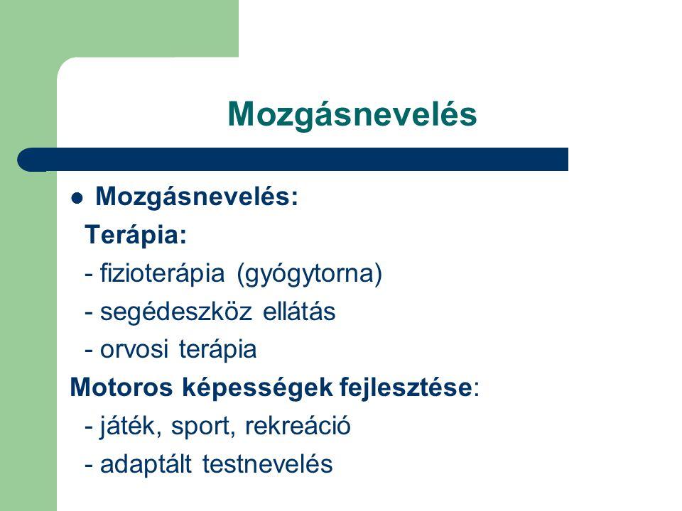 Mozgásnevelés Mozgásnevelés: Terápia: - fizioterápia (gyógytorna) - segédeszköz ellátás - orvosi terápia Motoros képességek fejlesztése: - játék, spor