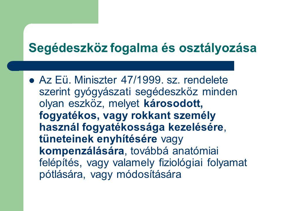 Segédeszköz fogalma és osztályozása Az Eü. Miniszter 47/1999. sz. rendelete szerint gyógyászati segédeszköz minden olyan eszköz, melyet károsodott, fo