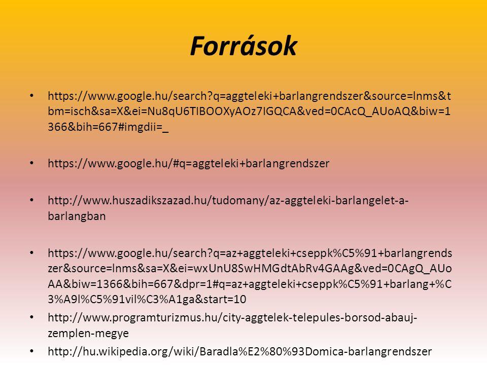 Források https://www.google.hu/search?q=aggteleki+barlangrendszer&source=lnms&t bm=isch&sa=X&ei=Nu8qU6TIBOOXyAOz7IGQCA&ved=0CAcQ_AUoAQ&biw=1 366&bih=6