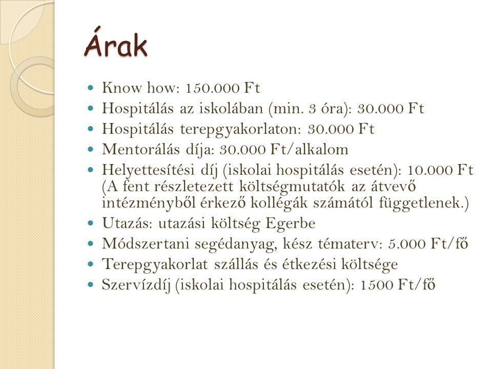 Árak Know how: 150.000 Ft Hospitálás az iskolában (min.