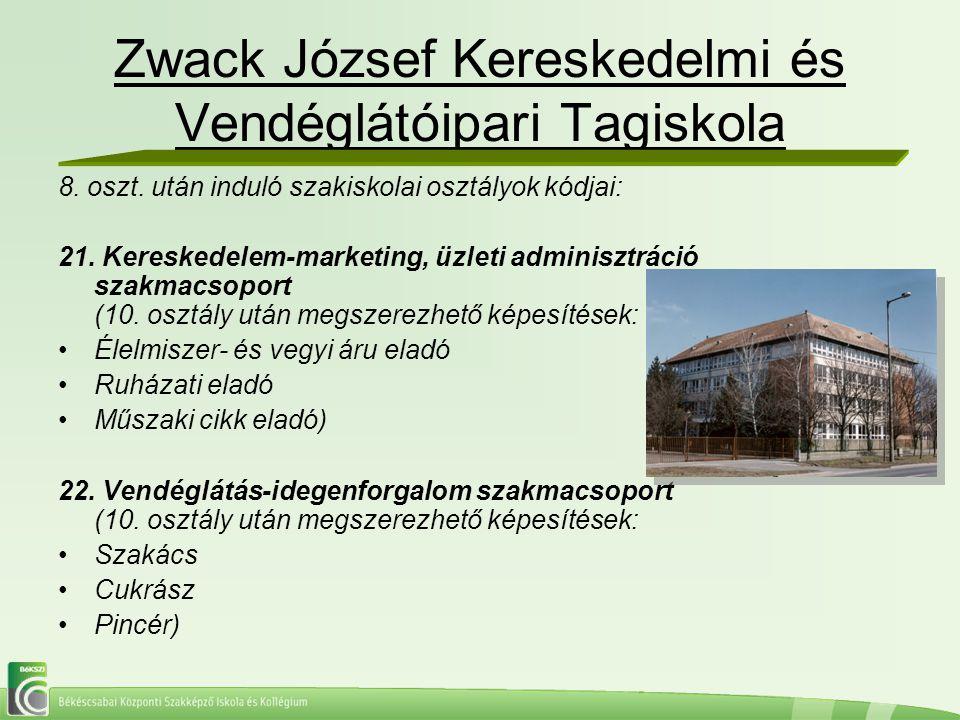 Zwack József Kereskedelmi és Vendéglátóipari Tagiskola 8. oszt. után induló szakiskolai osztályok kódjai: 21. Kereskedelem-marketing, üzleti adminiszt