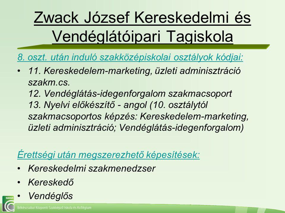 Zwack József Kereskedelmi és Vendéglátóipari Tagiskola 8. oszt. után induló szakközépiskolai osztályok kódjai: 11. Kereskedelem-marketing, üzleti admi