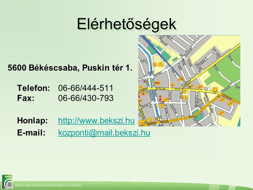 Elérhetőségek Elérhetőségek 5600 Békéscsaba, Puskin tér 1. Telefon:06-66/444-511 Fax:06-66/430-793 Honlap:http://www.bekszi.hu E-mail:kozponti@mail.be