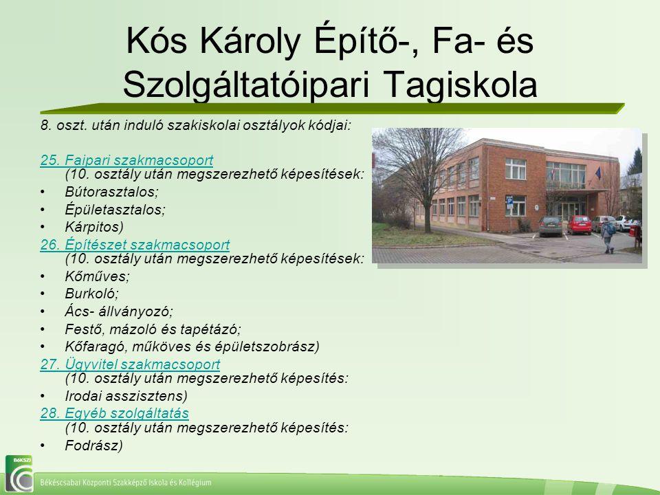 Kós Károly Építő-, Fa- és Szolgáltatóipari Tagiskola 8. oszt. után induló szakiskolai osztályok kódjai: 25. Faipari szakmacsoport 25. Faipari szakmacs