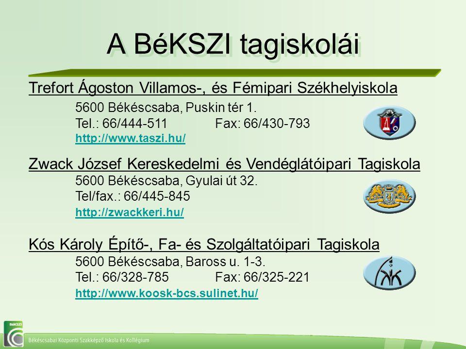 A BéKSZI tagiskolái A BéKSZI tagiskolái Trefort Ágoston Villamos-, és Fémipari Székhelyiskola 5600 Békéscsaba, Puskin tér 1. Tel.: 66/444-511Fax: 66/4