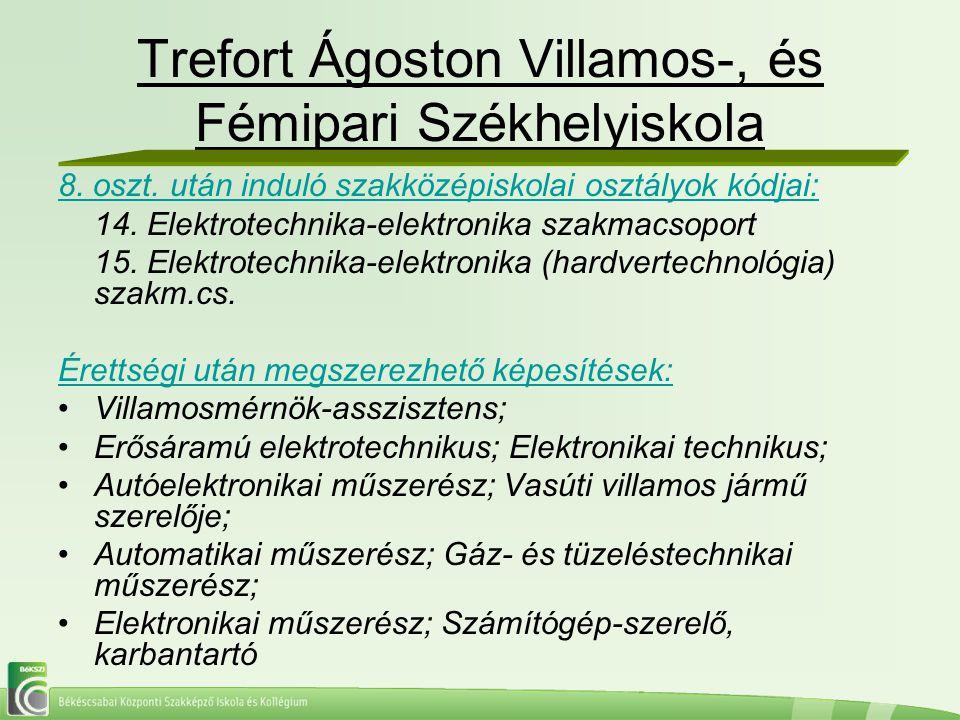 Trefort Ágoston Villamos-, és Fémipari Székhelyiskola 8. oszt. után induló szakközépiskolai osztályok kódjai: 14. Elektrotechnika-elektronika szakmacs