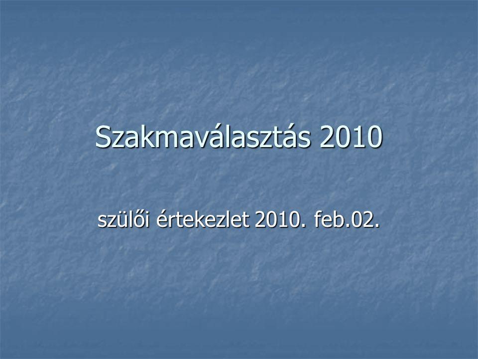 Szakmaválasztás 2010 szülői értekezlet 2010. feb.02.