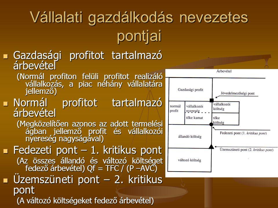 Vállalati gazdálkodás nevezetes pontjai Gazdasági profitot tartalmazó árbevétel Gazdasági profitot tartalmazó árbevétel (Normál profiton felüli profit
