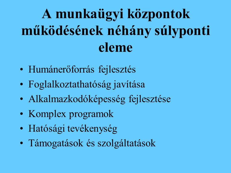 A munkaügyi központok tevékenységének néhány alapelve Partnerség elve Esélyegyenlőség elve Diszkrimináció tilalmának elve Bizalom, kölcsönös kapcsolatépítés Szubszidiaritás elve (döntések levitele a végrehajtói szintekre)