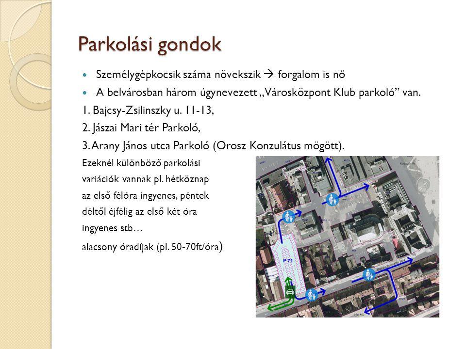"""Parkolási gondok Személygépkocsik száma növekszik  forgalom is nő A belvárosban három úgynevezett """"Városközpont Klub parkoló"""" van. 1. Bajcsy-Zsilinsz"""