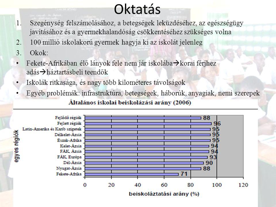 Oktatás 1.Szegénység felszámolásához, a betegségek leküzdéséhez, az egészségügy javításához és a gyermekhalandóság csökkentéséhez szükséges volna 2.10