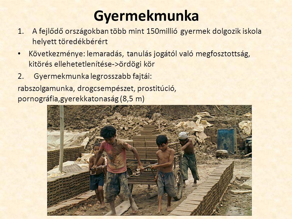Gyermekmunka 1.A fejlődő országokban több mint 150millió gyermek dolgozik iskola helyett töredékbérért Következménye: lemaradás, tanulás jogától való
