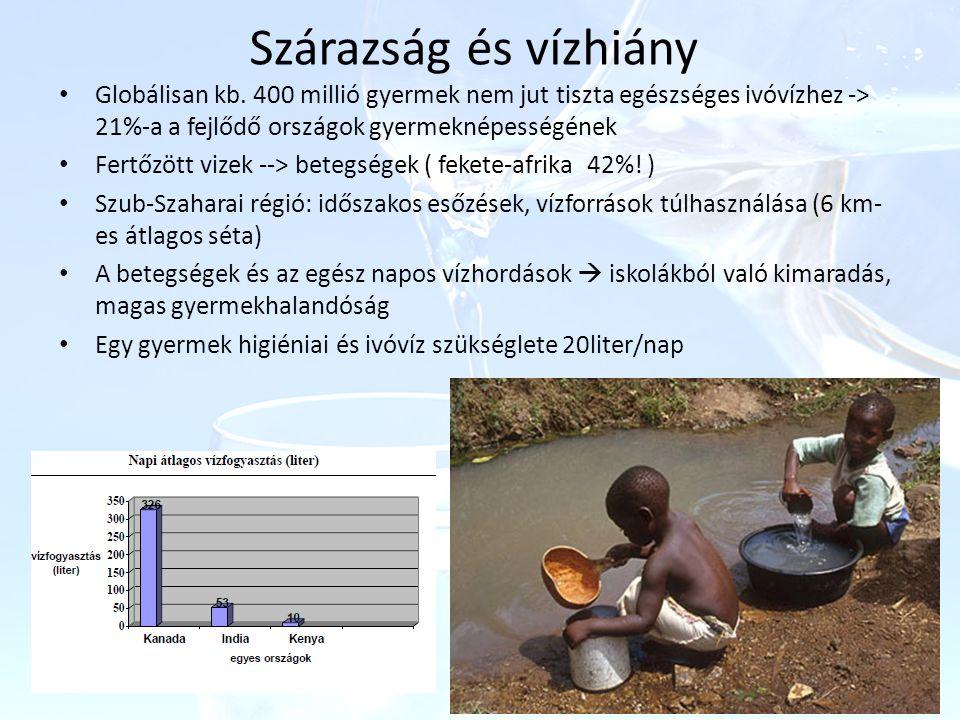Szárazság és vízhiány Globálisan kb. 400 millió gyermek nem jut tiszta egészséges ivóvízhez -> 21%-a a fejlődő országok gyermeknépességének Fertőzött