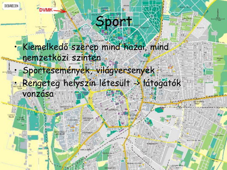 Sport Kiemelkedő szerep mind hazai, mind nemzetközi szinten Sportesemények, világversenyek Rengeteg helyszín létesült -> látogatók vonzása
