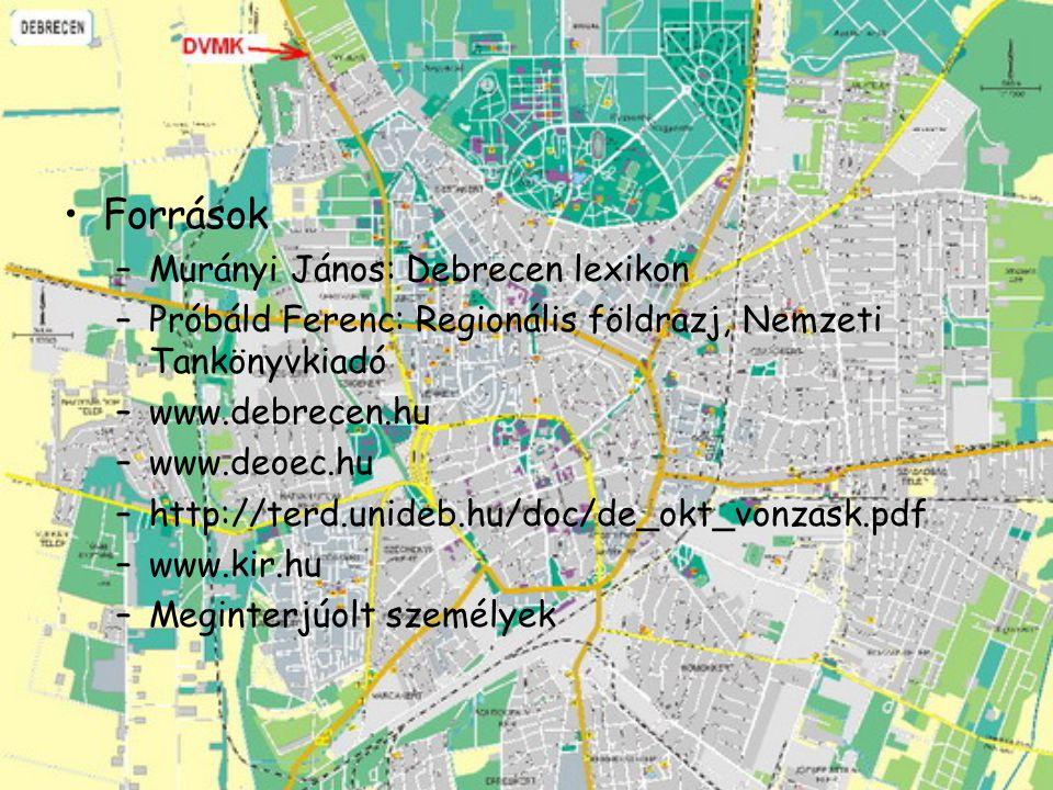 Források –Murányi János: Debrecen lexikon –Próbáld Ferenc: Regionális földrazj, Nemzeti Tankönyvkiadó –www.debrecen.hu –www.deoec.hu –http://terd.unid