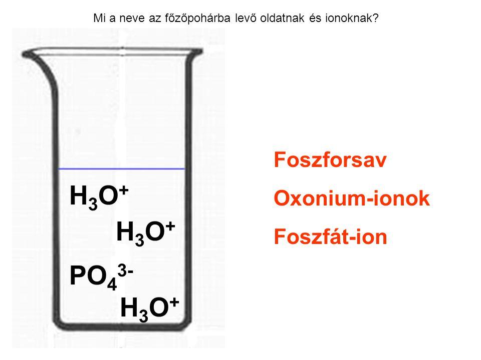 Mi a neve az főzőpohárba levő oldatnak és ionoknak? Foszforsav Oxonium-ionok Foszfát-ion H3O+H3O+ H3O+H3O+ PO 4 3- H3O+H3O+