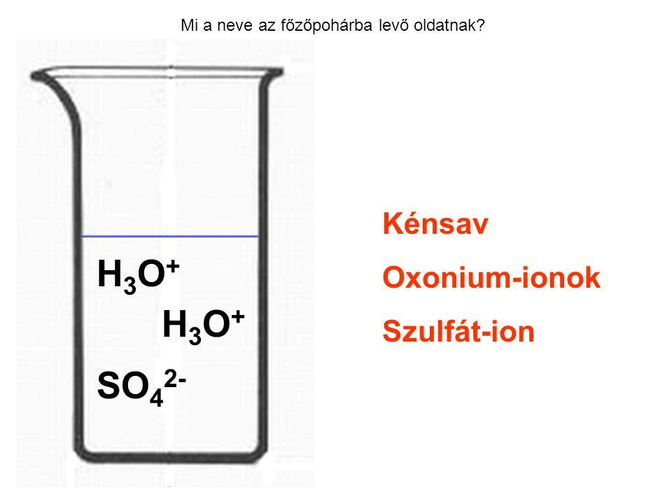 Mi a neve az főzőpohárba levő oldatnak? Kénsav Oxonium-ionok Szulfát-ion H3O+H3O+ H3O+H3O+ SO 4 2-