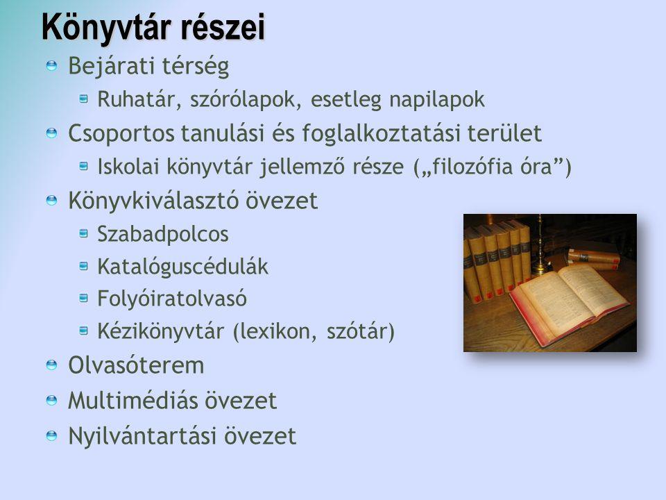 Könyvtár részei Bejárati térség Ruhatár, szórólapok, esetleg napilapok Csoportos tanulási és foglalkoztatási terület Iskolai könyvtár jellemző része (