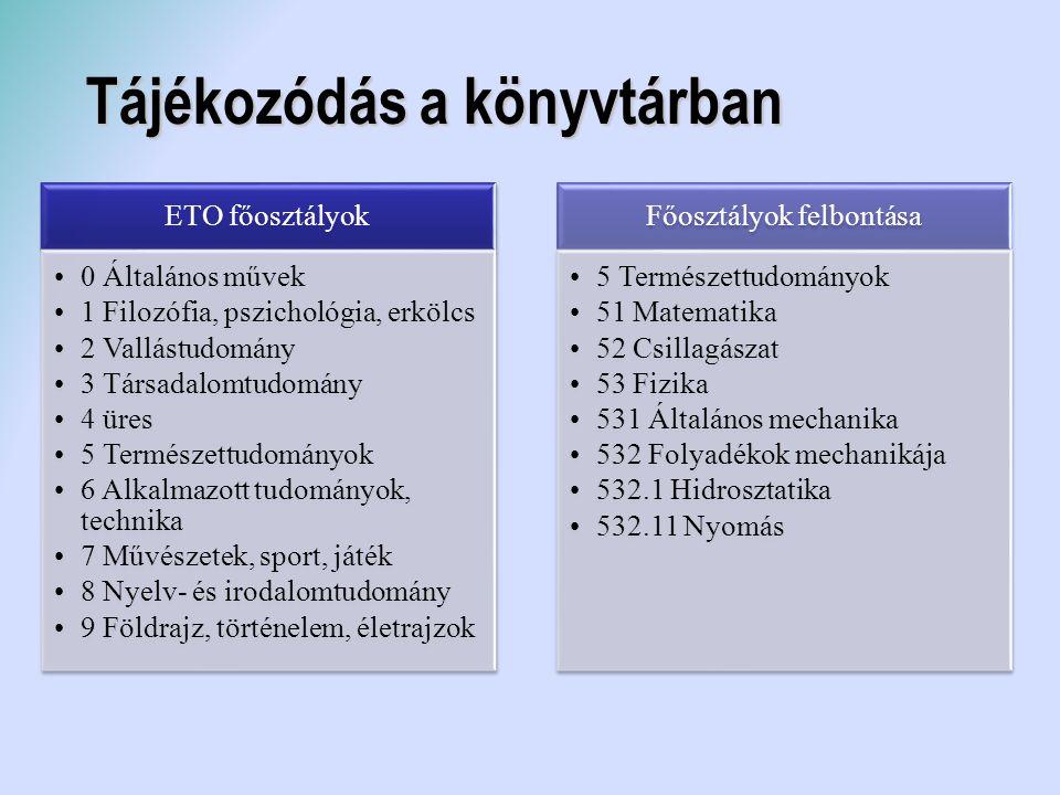 Tájékozódás a könyvtárban ETO főosztályok 0 Általános művek 1 Filozófia, pszichológia, erkölcs 2 Vallástudomány 3 Társadalomtudomány 4 üres 5 Természe