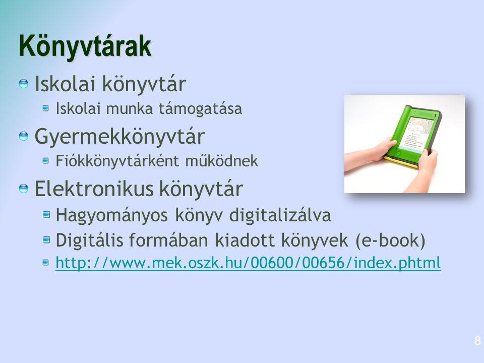 Könyvtárak Iskolai könyvtár Iskolai munka támogatása Gyermekkönyvtár Fiókkönyvtárként működnek Elektronikus könyvtár Hagyományos könyv digitalizálva D
