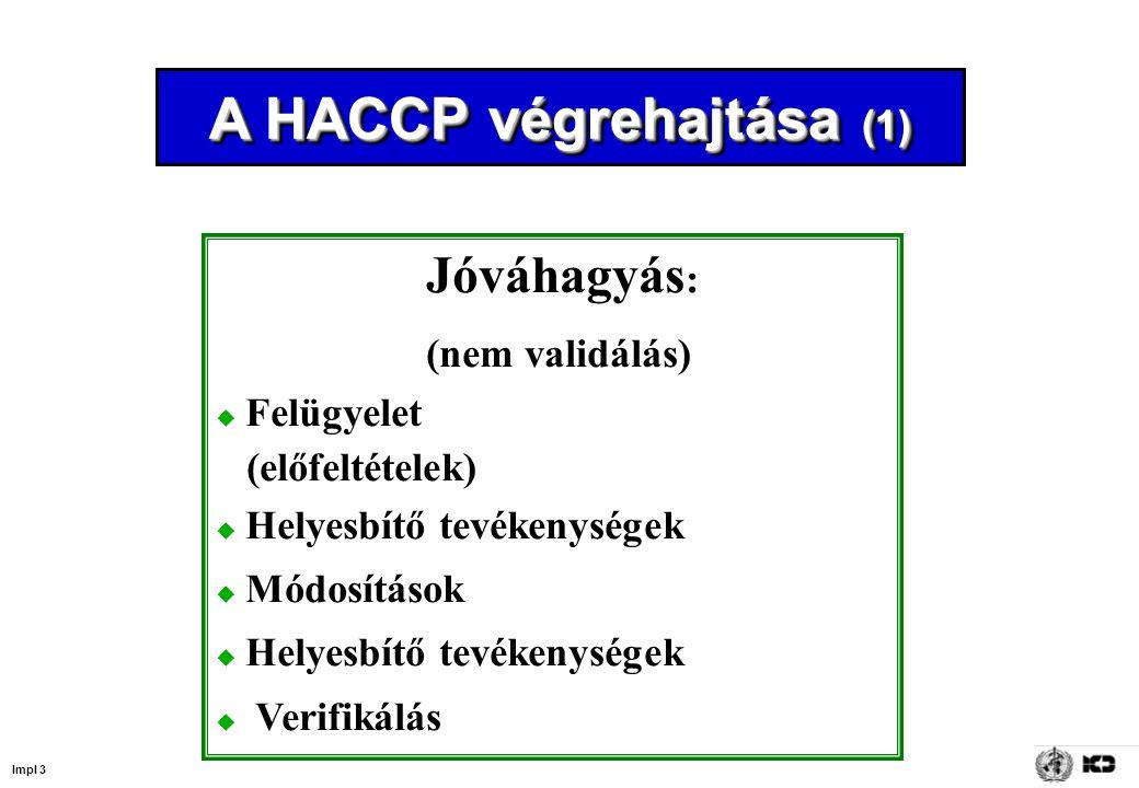 Impl 4 A HACCP végrehajtása (2) Végrehajtás  Tréning  Tudatosság  Információ  Előfeltételek  Szabályozó eljárások  Felügyelet  Helyesbítő tevékenységek  Nyilvántartás