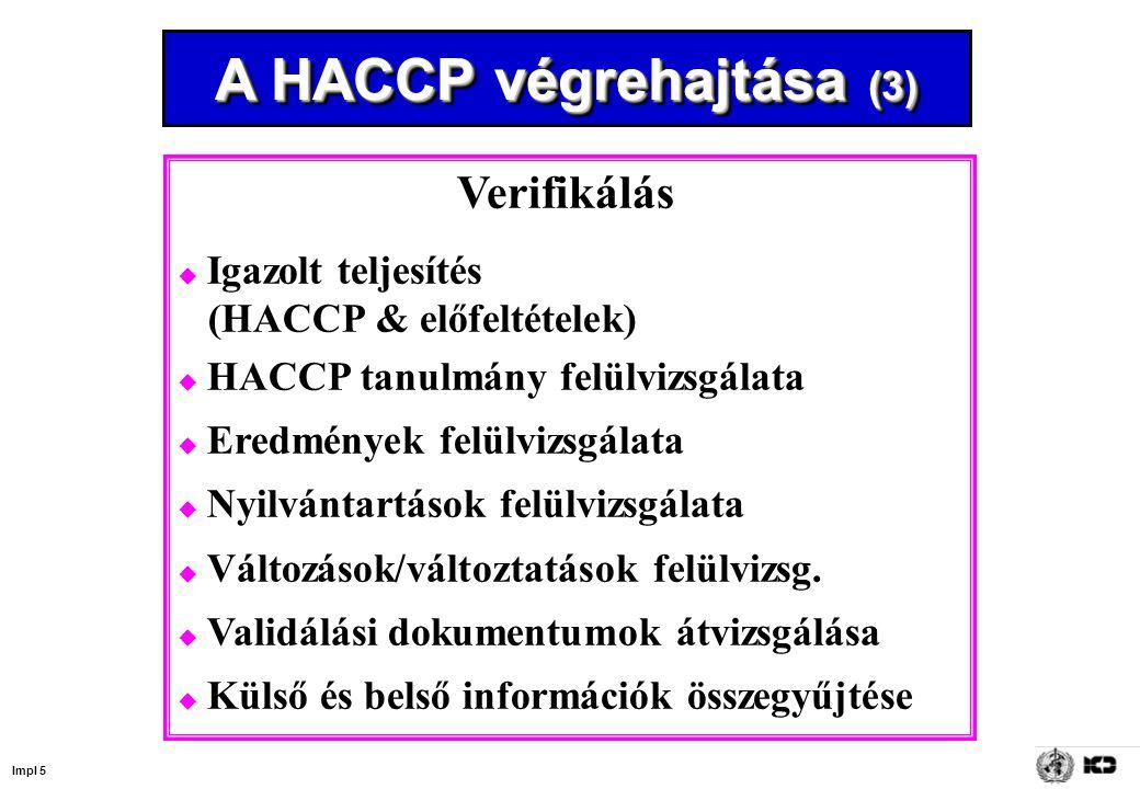 Impl 5 A HACCP végrehajtása (3) Verifikálás  Igazolt teljesítés (HACCP & előfeltételek)  HACCP tanulmány felülvizsgálata  Eredmények felülvizsgálata  Nyilvántartások felülvizsgálata  Változások/változtatások felülvizsg.