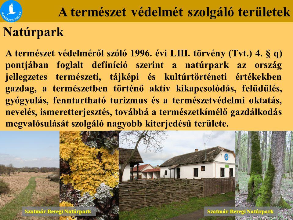 A természet védelmét szolgáló területek Natúrpark A természet védelméről szóló 1996. évi LIII. törvény (Tvt.) 4. § q) pontjában foglalt definíció szer