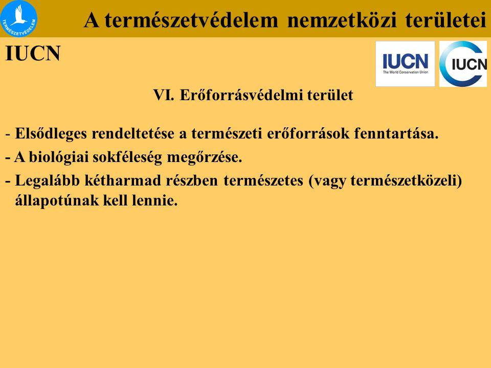 A természetvédelem nemzetközi területei IUCN -Elsődleges rendeltetése a természeti erőforrások fenntartása. - A biológiai sokféleség megőrzése. - Lega