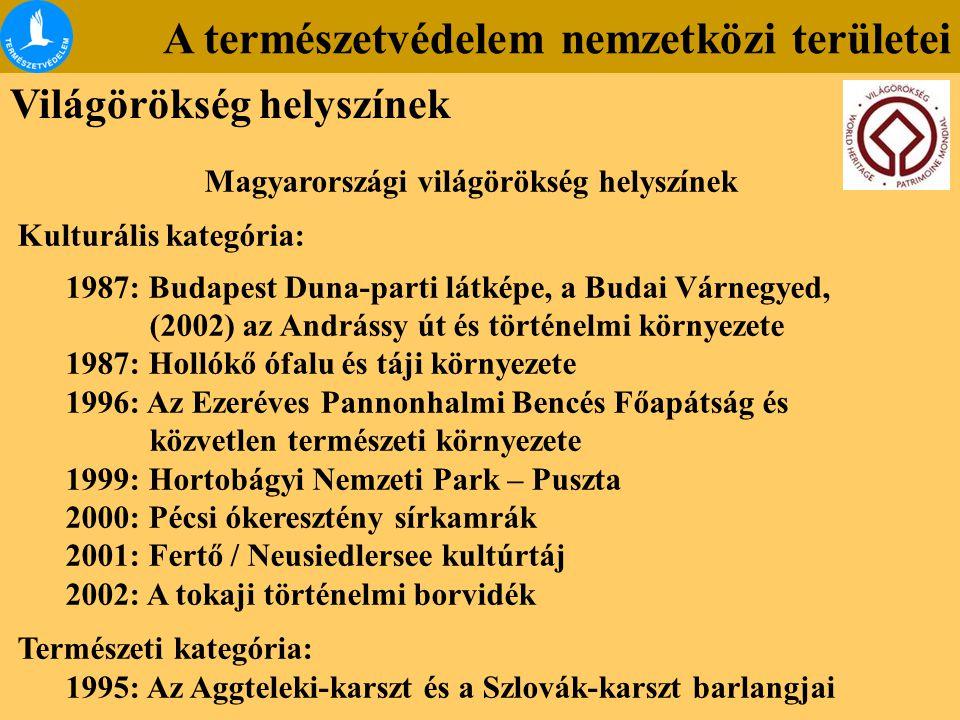 A természetvédelem nemzetközi területei Világörökség helyszínek Magyarországi világörökség helyszínek Kulturális kategória: 1987: Budapest Duna-parti