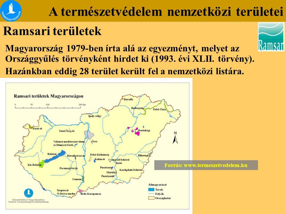 A természetvédelem nemzetközi területei Ramsari területek Magyarország 1979-ben írta alá az egyezményt, melyet az Országgyűlés törvényként hirdet ki (