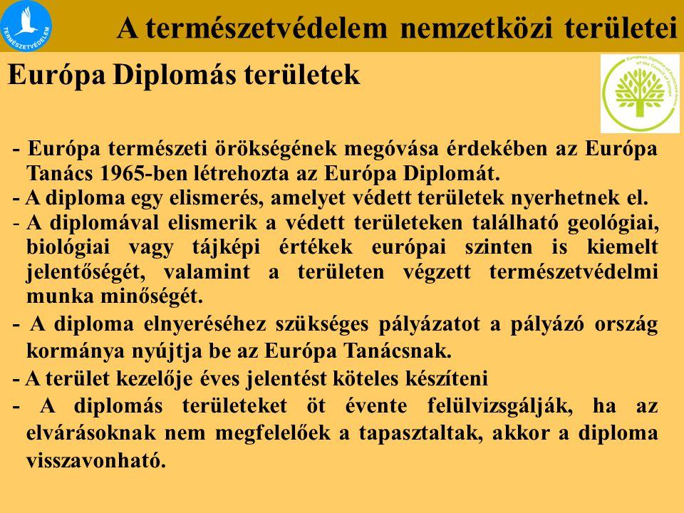 A természetvédelem nemzetközi területei Európa Diplomás területek - Európa természeti örökségének megóvása érdekében az Európa Tanács 1965-ben létreho