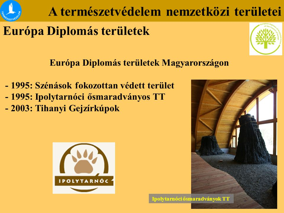 A természetvédelem nemzetközi területei Európa Diplomás területek Európa Diplomás területek Magyarországon - 1995: Szénások fokozottan védett terület