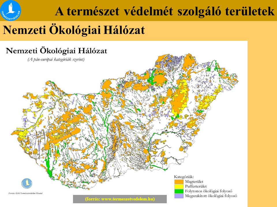 A természet védelmét szolgáló területek Nemzeti Ökológiai Hálózat (forrás: www.termeszetvedelem.hu)