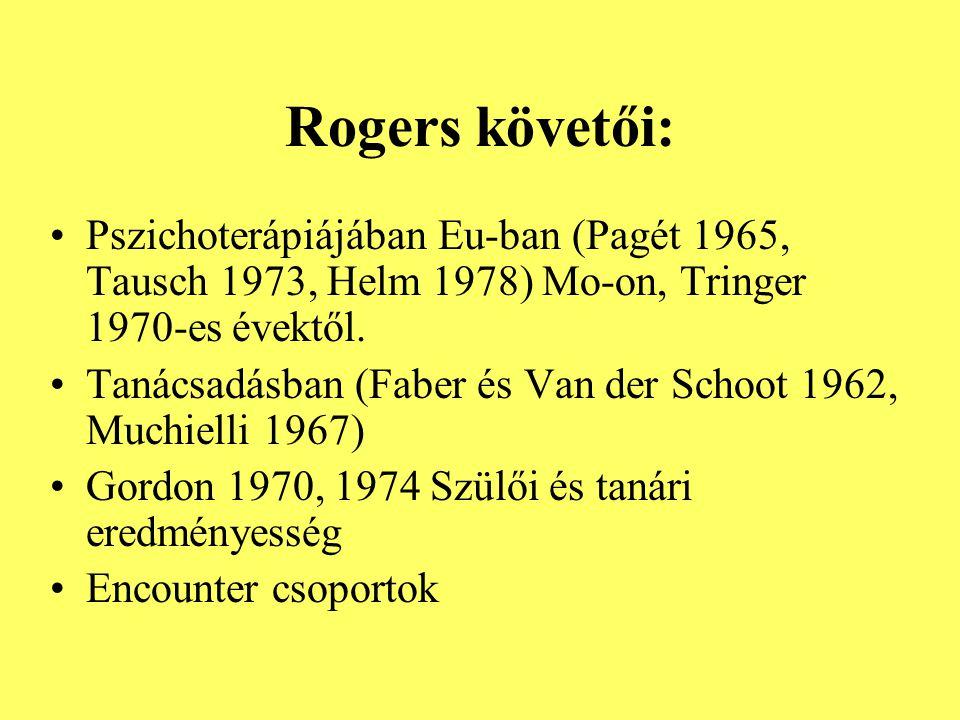 Rogers követői: Pszichoterápiájában Eu-ban (Pagét 1965, Tausch 1973, Helm 1978) Mo-on, Tringer 1970-es évektől. Tanácsadásban (Faber és Van der Schoot