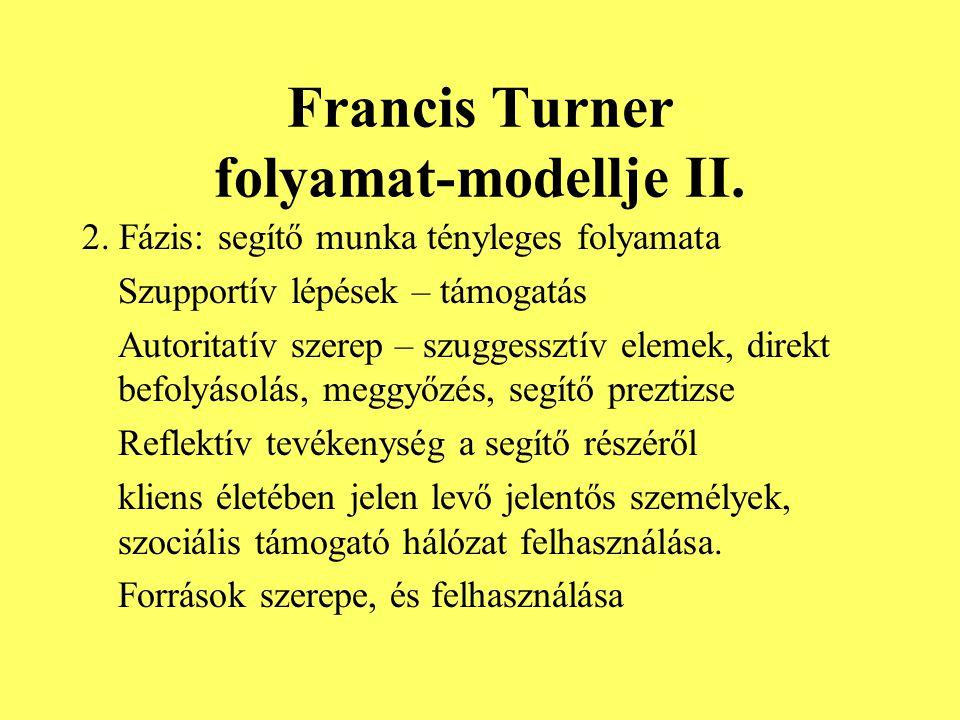 Francis Turner folyamat-modellje II. 2. Fázis: segítő munka tényleges folyamata Szupportív lépések – támogatás Autoritatív szerep – szuggessztív eleme