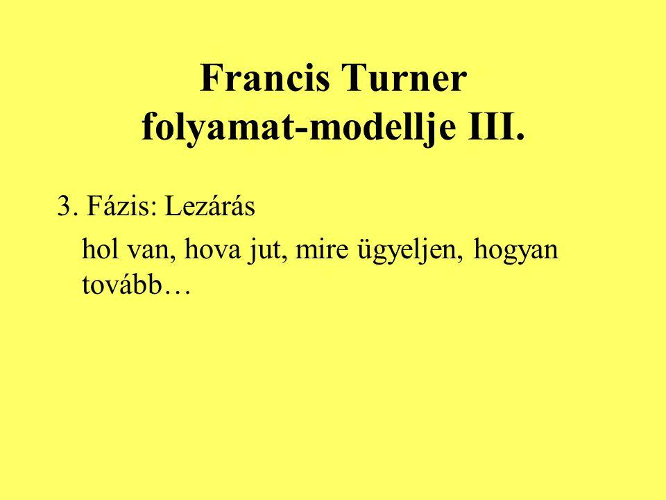Francis Turner folyamat-modellje III. 3. Fázis: Lezárás hol van, hova jut, mire ügyeljen, hogyan tovább…