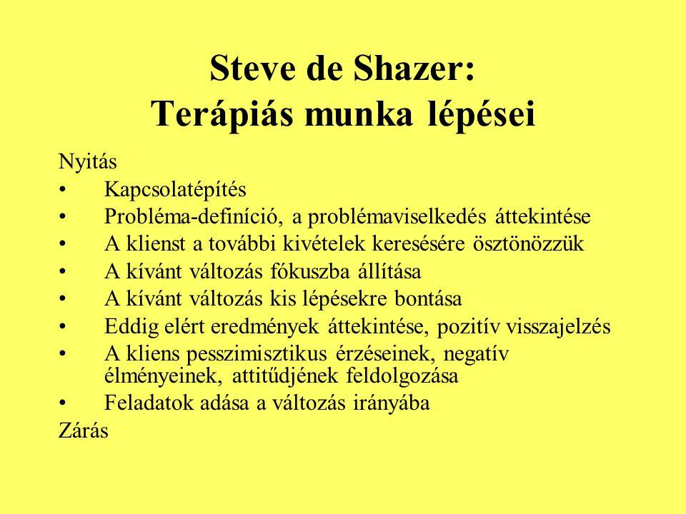 Steve de Shazer: Terápiás munka lépései Nyitás Kapcsolatépítés Probléma-definíció, a problémaviselkedés áttekintése A klienst a további kivételek kere
