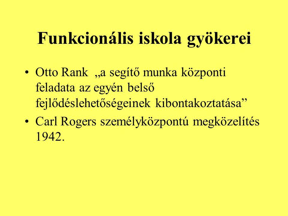 """Funkcionális iskola gyökerei Otto Rank """"a segítő munka központi feladata az egyén belső fejlődéslehetőségeinek kibontakoztatása"""" Carl Rogers személykö"""