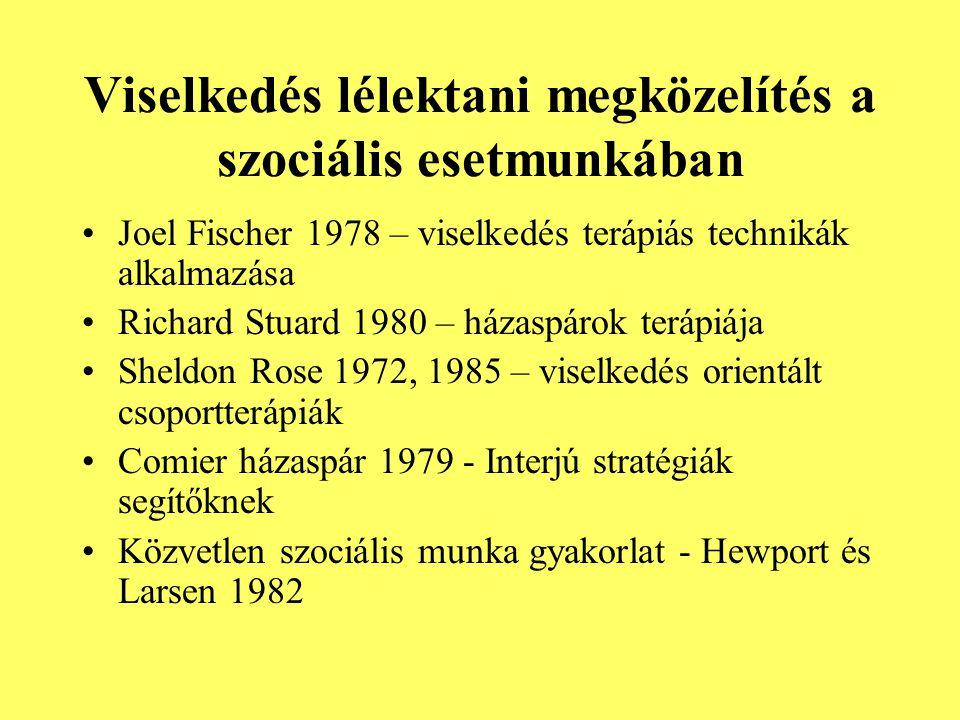 Viselkedés lélektani megközelítés a szociális esetmunkában Joel Fischer 1978 – viselkedés terápiás technikák alkalmazása Richard Stuard 1980 – házaspá