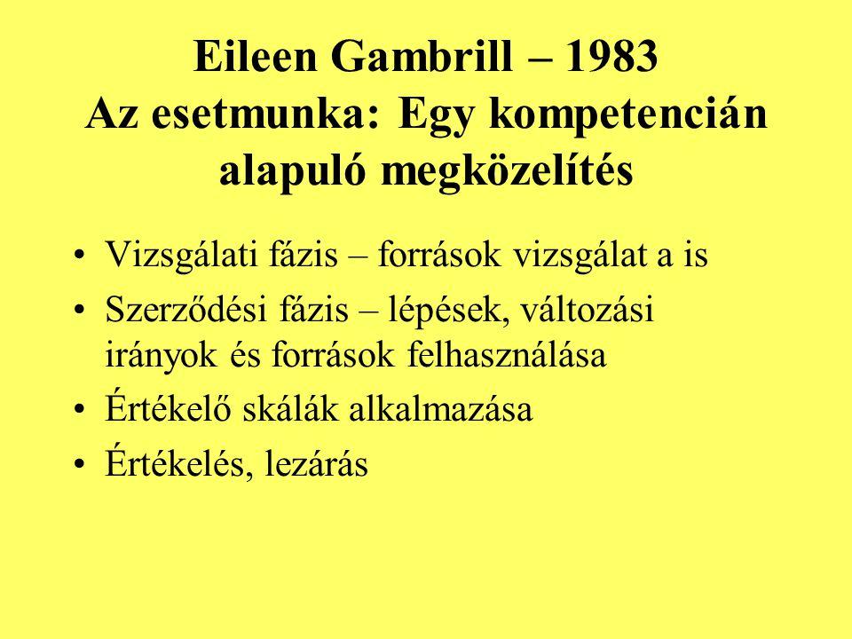 Eileen Gambrill – 1983 Az esetmunka: Egy kompetencián alapuló megközelítés Vizsgálati fázis – források vizsgálat a is Szerződési fázis – lépések, vált
