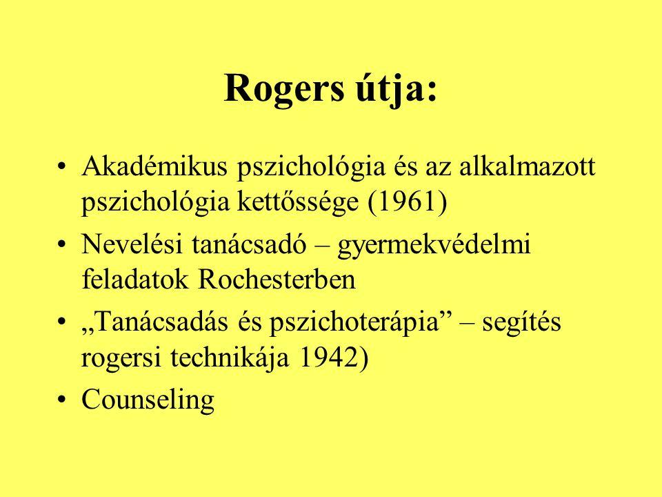 """Rogers útja: Akadémikus pszichológia és az alkalmazott pszichológia kettőssége (1961) Nevelési tanácsadó – gyermekvédelmi feladatok Rochesterben """"Taná"""