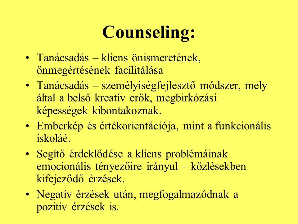 Counseling: Tanácsadás – kliens önismeretének, önmegértésének facilitálása Tanácsadás – személyiségfejlesztő módszer, mely által a belső kreatív erők,