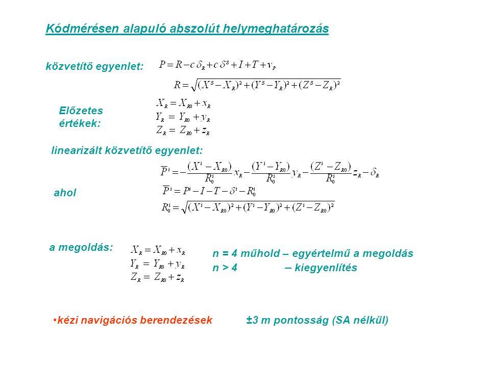 Kódmérésen alapuló abszolút helymeghatározás közvetítő egyenlet: linearizált közvetítő egyenlet: ahol a megoldás: n = 4 műhold – egyértelmű a megoldás