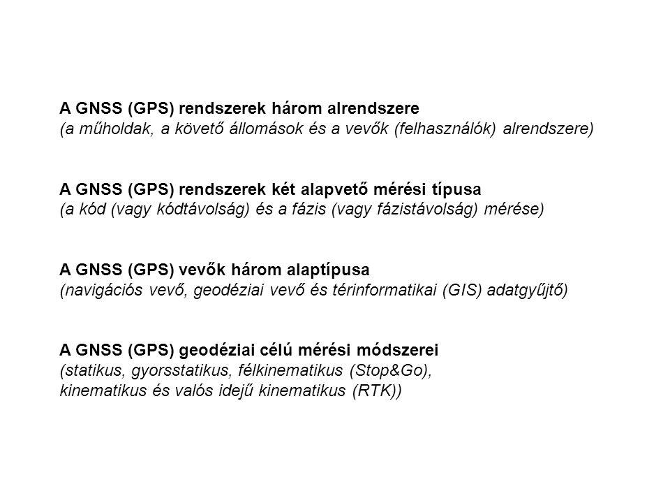A GNSS (GPS) rendszerek három alrendszere (a műholdak, a követő állomások és a vevők (felhasználók) alrendszere) A GNSS (GPS) rendszerek két alapvető