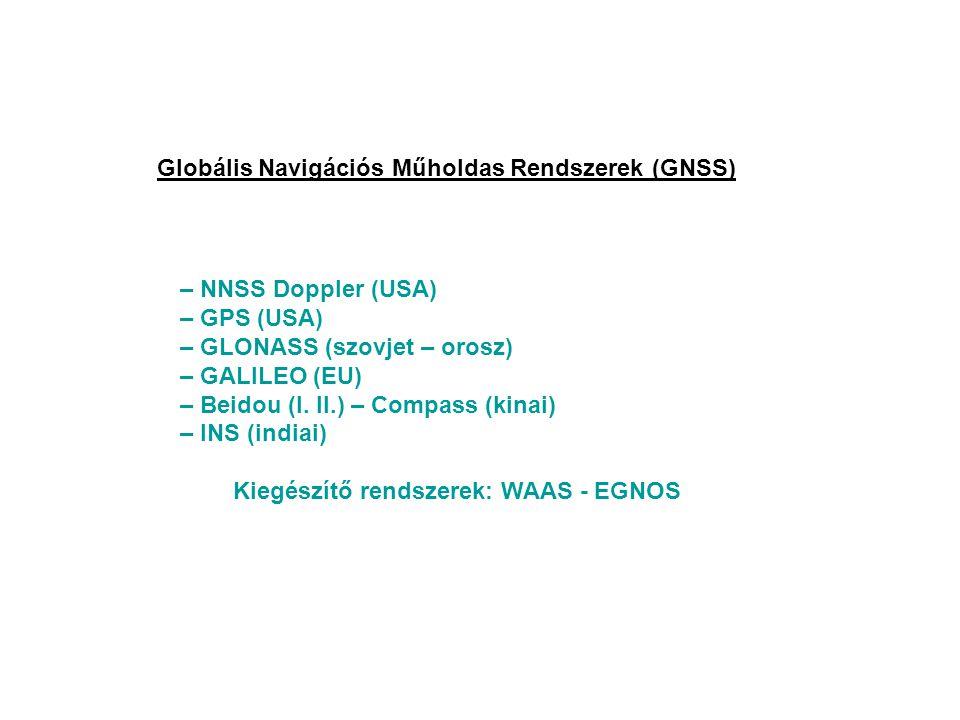 Globális Navigációs Műholdas Rendszerek (GNSS) – NNSS Doppler (USA) – GPS (USA) – GLONASS (szovjet – orosz) – GALILEO (EU) – Beidou (I. II.) – Compass