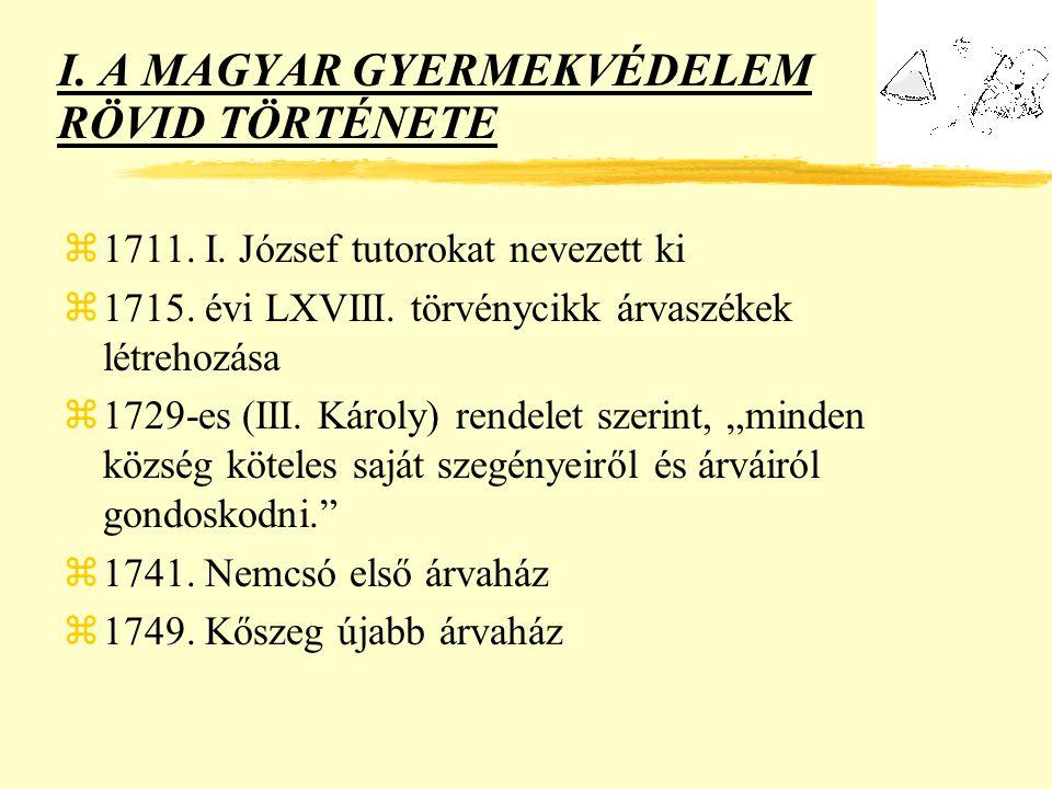 I.A MAGYAR GYERMEKVÉDELEM RÖVID TÖRTÉNETE z1711. I.