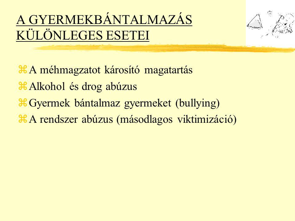 A GYERMEKBÁNTALMAZÁS KÜLÖNLEGES ESETEI zA méhmagzatot károsító magatartás zAlkohol és drog abúzus zGyermek bántalmaz gyermeket (bullying) zA rendszer abúzus (másodlagos viktimizáció)
